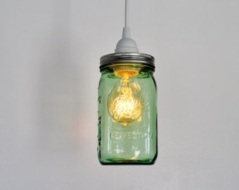 Mason Jar Pendant Lamp - Upcycled Hanging Lighting Fixture Featuring a GREEN Wide Mouth Quart Jar - Modern Home Decor - BootsNGus Lamps