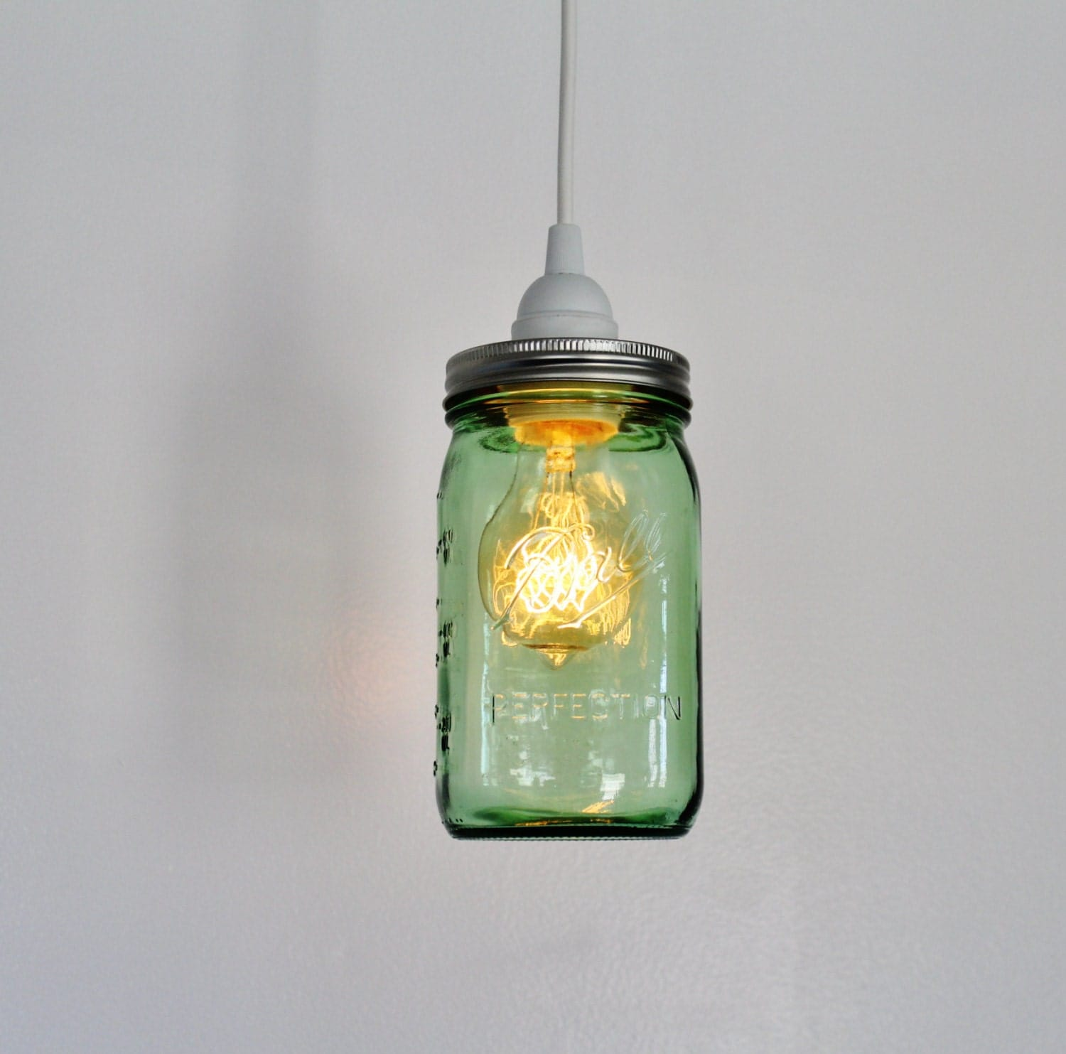 Mason jar pendant lamp upcycled hanging lighting fixture for Hanging lights made from mason jars