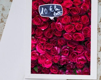 Paris Roses Photo Notecard - Crimson Roses in Paris Market, French Roses Notecard, Stationery, Blank Notecard