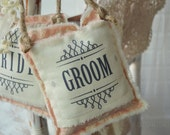 Bride and Groom Pillows, Wedding Reception Decor, Engagement Photo Prop, Blushing Bride