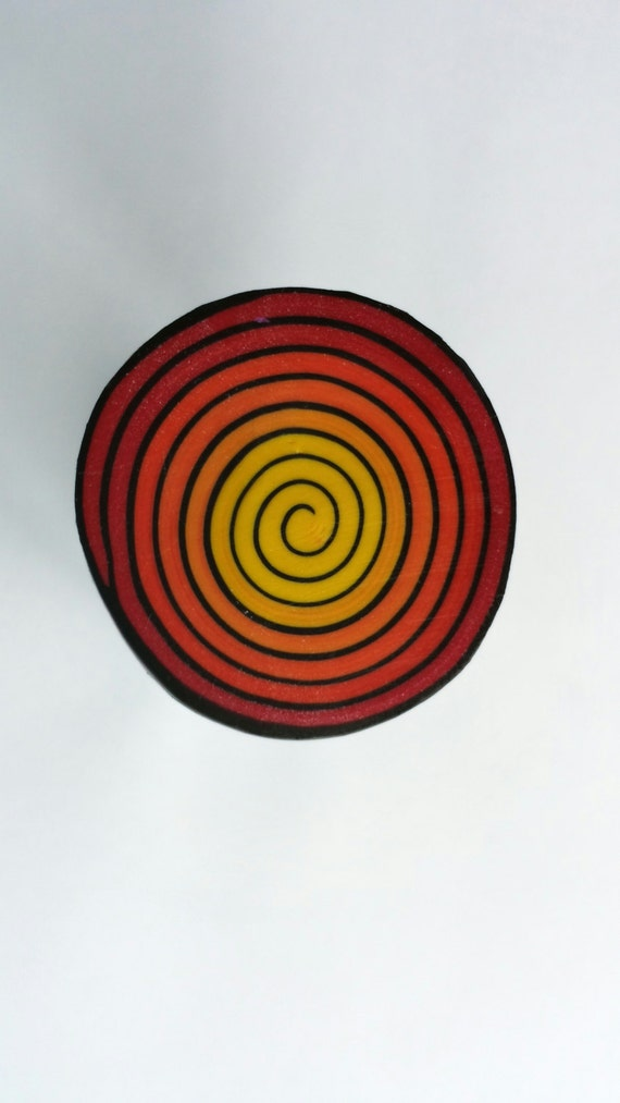 Polymer Clay Spiral Cane, Swirl Cane, Raw Cane, Red, Orange and Yellow