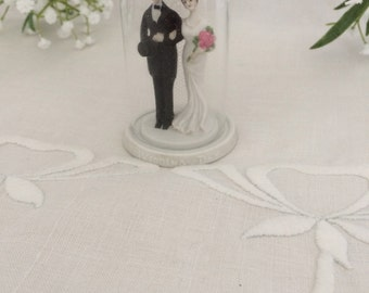 "Vintage 3 1/2"" Bride and Groom Wedding Cake Topper Under Glass Dome...1930's Mermaid Bridal Dress...New Old Stock"