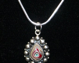 Vintage Sterling Silver Pendant Necklace Up-Cycled with a nearly 60 year old (1958-59 model year) Fordite Cabochon ~ mrfeld ~ FN8