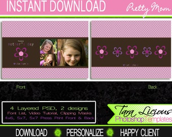 Layered Photoshop Templates - Mother's Day Template Pretty  Mom PSD Template TaraLicious Front and Back Photo Card TaraLicious JB