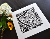 rome, london, paris, florence, brussels, or amsterdam hand cut map, 10x10