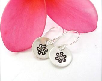 Tiare Flower hand stamped earrings, flower earrings, gardenia jewelry, daisy earrings, flower child, small dainty silver earrings