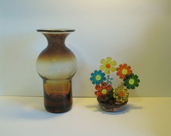 Vintage Greenwich Flint Craft Vase 1194 in Burnt Honey