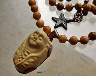 Walnut Vanilla Creme Papoose Truffle Assemblage Necklace