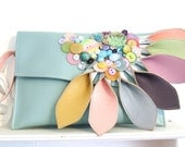 Mint green and pastel leather clutch bag, statement clutch, pastel clutch, embellished bag