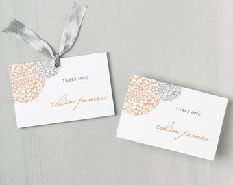 Printable Place Card Template | INSTANT DOWNLOAD | Blooms Escort Card | Editable Colors| Mac or PC | Word & Pages | Flat or Folded