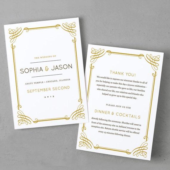 printable wedding program template instant download. Black Bedroom Furniture Sets. Home Design Ideas