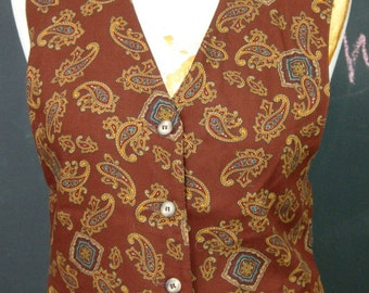 Vintage Paisley Print VEST, First Issue, 1980s