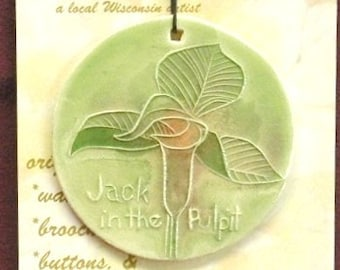 JACK-in-the-PULPIT ORNAMENT Handmade ceramic Wildflower original North American botanical design hand carved by Wisconsin artist Faith Ann