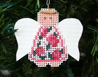 Christmas Tree Ornament - Angel Susan - Cross Stitched Holiday Ornament - Free U.S. Shipping
