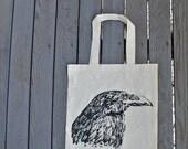 Raven Black Bird Tote Bag / Hipster Bag / Halloween Tote