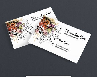 30% OFF SALE Business Card Designs - Printable Business Card Design - Premade - Flourishes 1