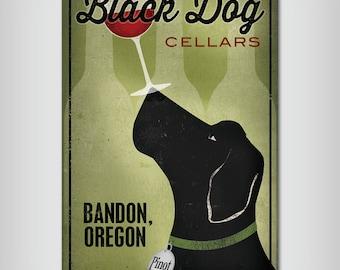 CUSTOM Personalized BLACK DOG Winery Stretched Canvas  Black Dog