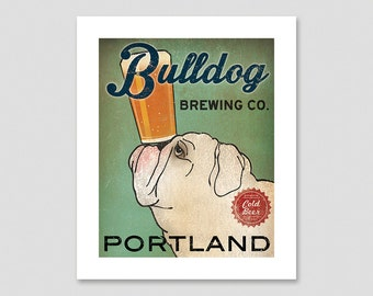 BULLDOG Custom Bulldog Brewing Company PRINT Signed