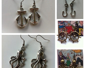 Nautical Earrings - Squids /Rudders/Anchors/Fish Hooks - 5 Sets of Earrings Available - This listing is for one pair of earrings
