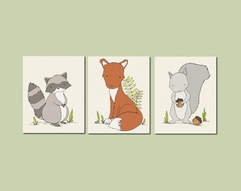 Woodland Nursery Art - Woodland Animal Art Prints - Set of 3 Prints - Woodland Nursery Decor - Fox Raccoon Squirrel Art - Kids Wall Art