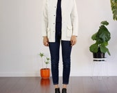 White Retro Cardigan Sweater with Navy Contrast Stitching - Medium