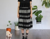 Black and White Lace Stripe Skirt - Small / Medium