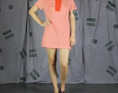 60's Joseph Magnin Orange & White Striped Mini Dress - Small / Medium