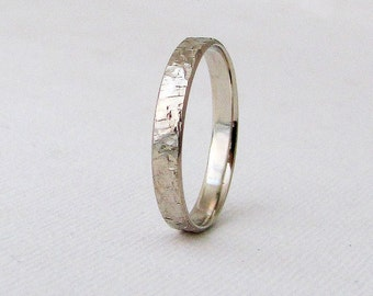 White Gold Wedding Band Mens Hammered Rustic Wedding Ring White Gold Distressed Wedding Band 14K White Gold Engraved Wedding Band