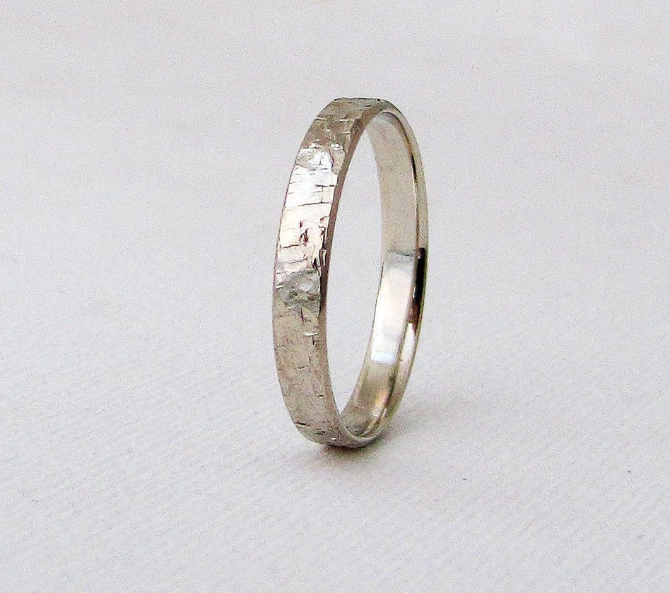 White Gold Wedding Band Mens Hammered Rustic Wedding Ring