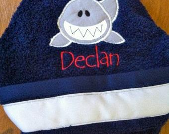 Boys Shark Hooded Towel in Navy