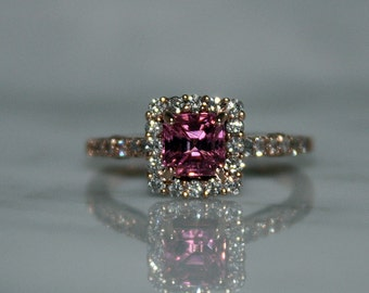 Pink Tourmaline and Halo, Diamond Engagement Ring, Rose Gold/Appraisal Included