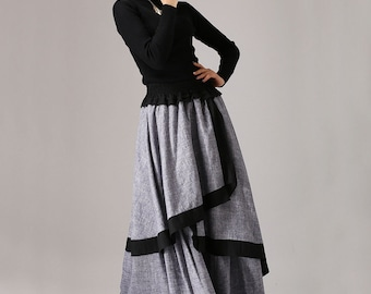 linen skirt, tiered tiered skirt, Gray skirt,  long skirt, maxi linen skirt, layered skrit, Custom skirt, elastic waist skirt, Custom  (771)