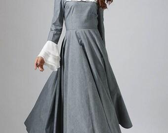 Gray dress woman cotton prom dress custom made maxi wedding dress (810)