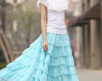 blue skirt, layered skirt, maxi skirt, summer skirt, chiffon skirt, prom skirt, elastic waist skirt, womens skirts, made to order  (938)