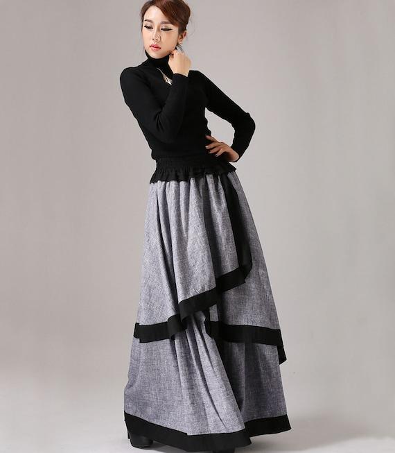 Skirt Linen Skirt Long Skirt For Women Tiered Skirt Maxi