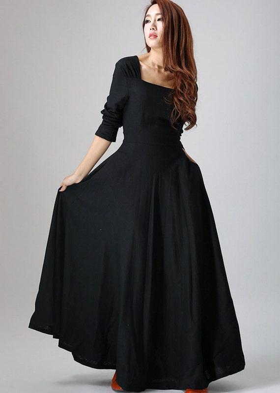 Modele de robe longue en lin