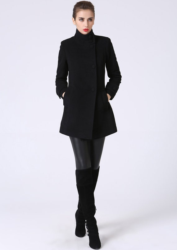 wool jacket Black coat short jacket wool coat Black