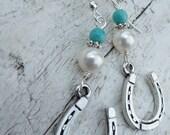 Horseshoe Cowgirl Earrings - Turquoise & Pearl Equestrian Western Horseshoe Good Luck Charm Earrings