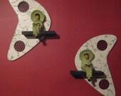 mid century vintage style  boomerang shadowbox wall shelf atomic hangings