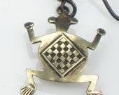 Frog Travelers Amulet Bronze Earrings - Hypo Allergenic Niobium Ear Wires