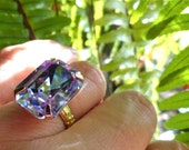 Swarovski Alexandrite Ring Bridesmaid Gift Vintage Lavender Purple Crystal Cocktail Ring Old Hollywood Glamour