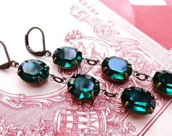 Triple Drop Swarovski Emerald Green Earrings Prom Bridal Bridesmaids