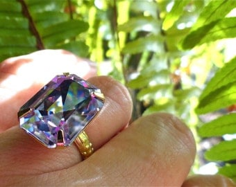Swarovski Alexandrite Ring Bridesmaid Gift Lavender Purple Blue Light Pastel Summer Color Crystal Jumbo Large Cocktail Ring