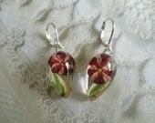 Pink,Red Pinwheel Verbena Atop MoonShadow Euonymus Leaf Pressed Flower Teardrop Leverback Earrings-Symbolizes Enchantment-Gifts Under 30