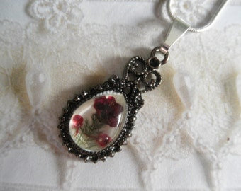 Deep Maroon Alyssum Pressed Flower Victorian Teardrop Pendant Under Glass-Symbolize Worth Beyond Beauty-Nature's Wearable Art-Gifts Under 30