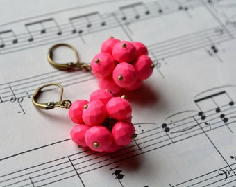 Bright Pink Dangle Earrings Pink Cluster Earrings Antiqued Brass Matte Pink Earrings Leverback Lightweight