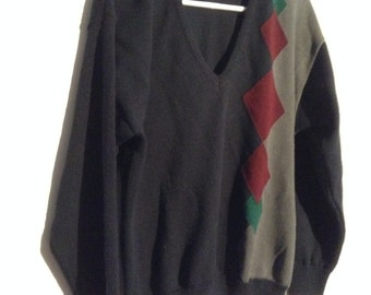 Vintage Pendleton Argyle Sweater, Men's V Neck Wool Sweater, size M.  New Old Stock.  Made in USA.