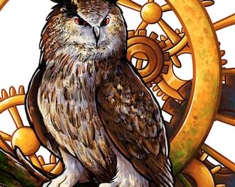 Clockwork Owl - Bird Art | Owl Art | Steampunk Art | Animal Art | 8x10 | 11x17