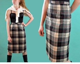 Vintage 50s Skirt Black Plaid Wool Skirt Mad Men A Line Womens Skirt Kick Pleat High Waist Pencil Skirt Waist 26 / M