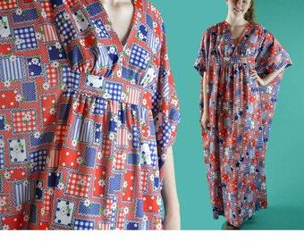 Vintage 70s Maxi Dress PATCHWORK Print Bohemian Caftan Long Maxi Dress 60s FESTIVAL Hippie Dress Empire Waist Boho Maxi Dress OSFM